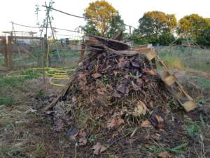 Un tas de compost couvert de feuilles mortes et de paille