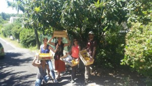 Cinq personnes montrant fièrement leurs cagettes pleines de nèfles