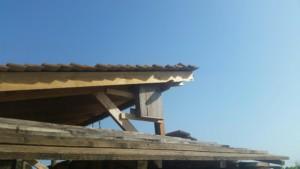 Une petite boite en bois, un nichoir à chauve souris, est fixé juste sous le toit de la paillote