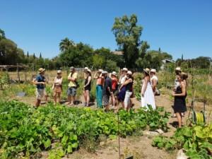 Groupe de personnes visitant le premier jardin de l'Oasis
