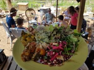 Assiette de salade multicolore en premier plan, table conviviale en second plan