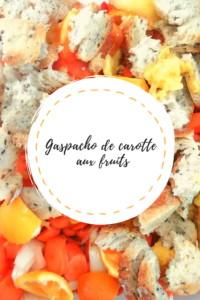 """Page de titre de la recette """"Gaspacho de carotte aux fruits"""""""