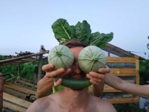 Une personne devant le visage de laquelle sont tenus deux courgettes rondes en guise d'yeux, une courgette droite en guise de bouche et des feuilles de chou en guis de cheveux