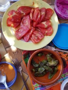 Une assiette contenant une belle tomate tranchée et un ramequin en terre cuite qui contient des petits poivrons verts grillés.