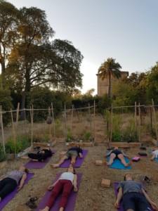 Groupe de personnes allongées sur le dos sur des tapis de sol pour une activité bien être